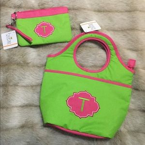 NWT- Pink/Green Monogrammed Lunch Tote & Wristlet